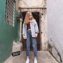 Quần baggy jean nữ rách MS 3007 giá sỉ, giá bán buôn