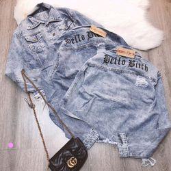 Áo khoác jean nữ thêu chữ Hello Bith giá sỉ