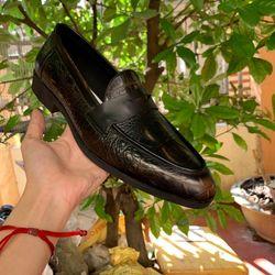 Giày tây nam công sở không dây chất da bò dập vân giá sỉ
