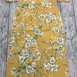 Áo dài truyền thống gấm chéo vàng hoa trắng