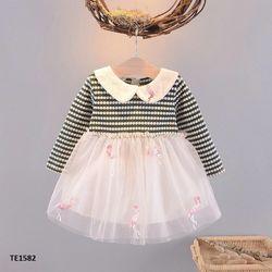 Váy thun mềm phối voan lưới thêu hình chim hạc xinh xắn giá sỉ