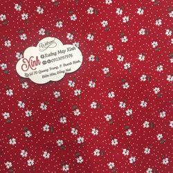Áo dài truyền thống lụa Hàn đỏ hoa nhí