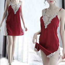 Đầm ngủ dễ thương đỏ đô kèm hoa nổi xám giá sỉ