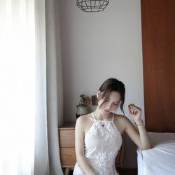 Váy ngủ ren thêu hoa nổi màu trắng sang chảnh