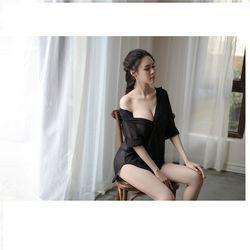 Áo sơ mi ngủ vạt dài nữ tính sexy FREESIZE dưới 65Kg