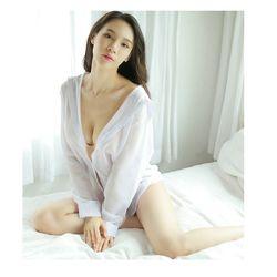 Áo sơ mi ngủ sexy gợi cảm Freesize dưới 65Kg