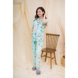 Bộ bầu pyjama tay ngắn hình học xanh ngọc