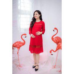 Đầm bầu vải tằm phối ren đỏ tay dài giá sỉ