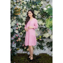 Đầm bầu vải đũi cổ tròn xếp ly hồng tay dài giá sỉ