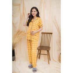 Bộ bầu pyjama tay ngắn ô vuông vàng