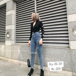 Quần jean nữ phối dây nịt có 2 màu xanh và đen giá sỉ
