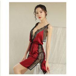 Váy ngủ đỏ đen phủ ren sang chảnh gợi cảm màu Đỏ và Đen giá sỉ, giá bán buôn