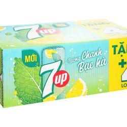 Thùng 28 lon nước giải khát 7Up Mojito hương chanh bạc hà 330ml giá sỉ, giá bán buôn