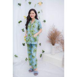 Bộ bầu pyjama tay ngắn lá cọ xanh biển