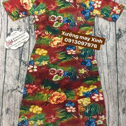 Áo dài gấm thun họa tiết hoa 7 màu