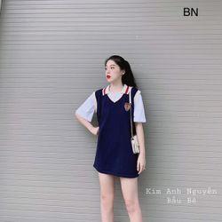 set bộ đồ nữ đẹp chất cá tính dễ thương giá rẻ áo cộc tay gile len logo BN 75449 giá sỉ