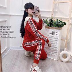 set bộ đồ nữ đẹp chất cá tính dễ thương giá rẻ thể thao mũ phối khóa GG BN 211189 giá sỉ