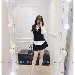 set bộ đồ nữ đẹp chất cá tính dễ thương giá rẻ sơ mi gile viền nhũ BN 67250 giá sỉ, giá bán buôn