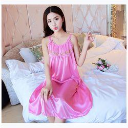 Váy ngủ 2 dây cột nơ xinh xắn chất phi bóng sáng đẹp giá sỉ, giá bán buôn