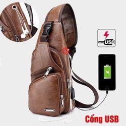 Túi da đeo chéo nam kèm dây cáp USB TC09 giá sỉ