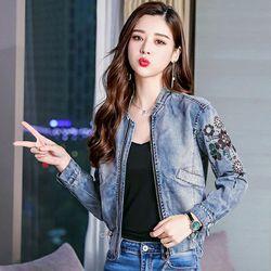 Áo Khoác Jean Thêu Hoa Cổ Trụ Bo giá sỉ, giá bán buôn