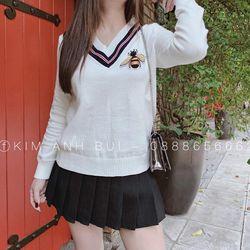 áo len nữ đẹp kiểu hàn quốc dễ thương giá sỉ viền cổ tim thêu ong BN 34502 Kèm Ảnh Thật giá sỉ
