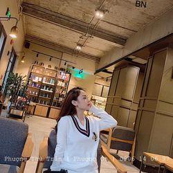 áo len nữ đẹp kiểu hàn quốc dễ thương giá sỉ viền cổ tim thêu ong BN 34502 Kèm Ảnh Thật