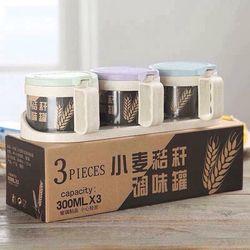 Bộ 3 lọ thủy tinh đựng gia vị lúa mạch giá sỉ