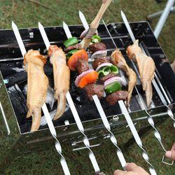 Bộ 10 que xiên thịt bằng inox dùng cho bếp nướng giá sỉ, giá bán buôn