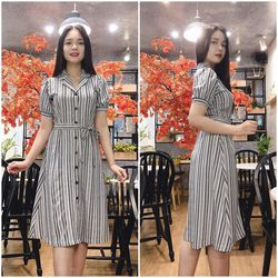 Đầm Xòe Sọc Cổ Vest Thanh Lịch Giá Rẻ Tiết Kiệm Tối Đa - GR0004 giá sỉ