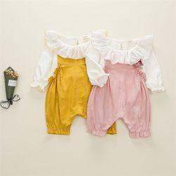 Set quần yếm vải thô mêm áo thun trắng cho bé gái giá sỉ