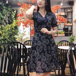 Đầm Xòe Họa Tiết Xanh Đen Cao Cấp Giá Siêu Rẻ - GR0006 giá sỉ