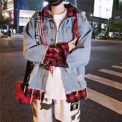 Áo khoác jean nam Unisex phối nón carô sọc đỏ phong cách thời trang chuyên sỉ jean 2KJean giá sỉ
