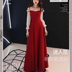 Đầm dạ hội phối voal đỏ giá sỉ