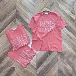 Áo thun hồng chữ PARIS ISFOR đơn giản cực xinh