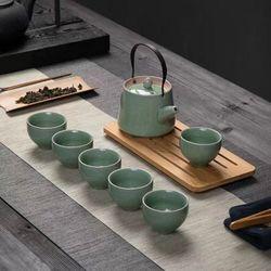 Bộ ấm trà xanh ngọc men rạn