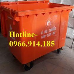 Phân phối sỉ - lẻ xe gom rác công nghiệp thùng rác 660lit 3 bánh xe nhựa composite giá sỉ