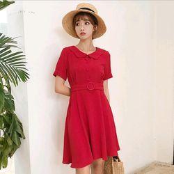 Đầm nữ kèm dây nịt đỏ và đen giá sỉ