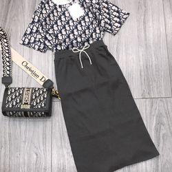 set bộ đồ nữ đẹp chất cá tính dễ thương giá rẻ Áo DIR chân váy len BN 87189 Kèm Ảnh Thật giá sỉ, giá bán buôn