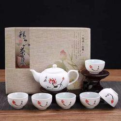 Bộ ấm trà men tuyết trắng họa tiết hoa sen