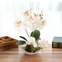 Hoa lan bằng lụa kèm chậu trang trí đẹp giá sỉ
