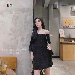 đầm váy suông đẹp dài hàn quốc mùa hè công sở nhung nhũ siêu hot BN 58592 Kèm Ảnh Thật