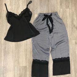 Đồ bộ 2 dây quần dài sọc áo trơn nữ lụa qc cao cấp giá sỉ