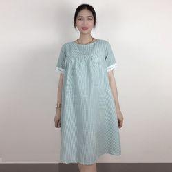 Đầm bầu caro tay ngắn có ren giá sỉ giá sỉ