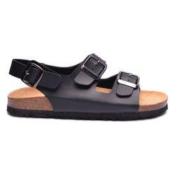 Giày sandal đế trấu 2 khóa màu đen nam giá sỉ