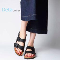 Giày sandal đế trấu 2 khóa màu đen nữ