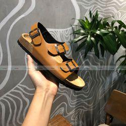Giày sandal đế trấu 2 khóa màu bò nữ