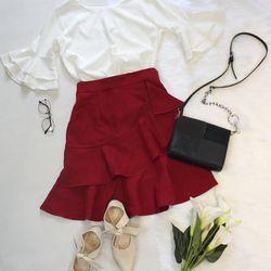 Set Áo Đũi Trắng Chân Váy Đỏ giá sỉ