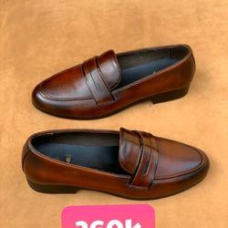 Giày lười nam cao cấp da bò màu nâu giá sỉ