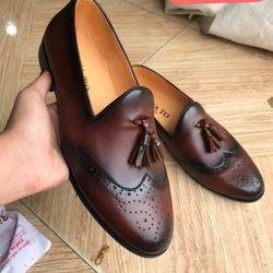 Giày nam da bò đế đúc hàng đóng tại xưởng kiểu nơ chuông giá sỉ